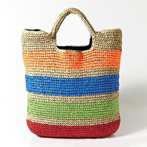 Crochet Summer Beach Bags Colorful Straw Bag Tasselled Women Travel Handmade Handbags girl tote bag - MAXMARTZ