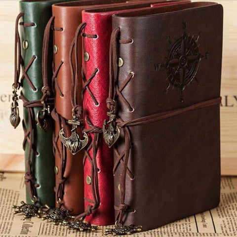Spiral Notebook Diary Notepad Vintage Pirate Anchors PU Leather Note Book Replaceable Stationery Gift Traveler Journal - MAXMARTZ