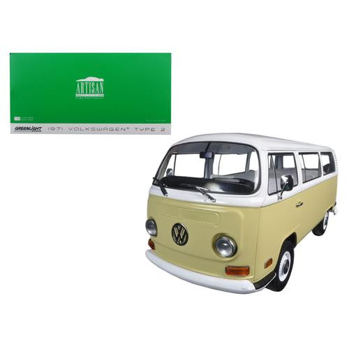 1971 Volkswagen Type 2 Bus (T2B) Yellow 1/18 Diecast Model Car by Greenlight - MAXMARTZ