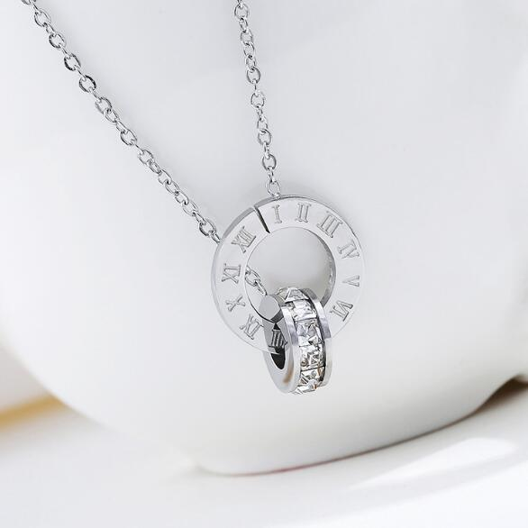 Couple Jewelry Austrian Crystal Love Necklace Luxury Brand Roman Numerical Necklace For Women Two Circle Pendant Clavicle