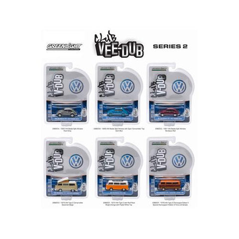 Greenlight Vee Dub Series 2, 6pc Diecast Car Set 1/64 Diecast Model Cars by Greenlight
