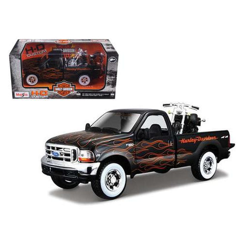 1999 Ford F-350 Super Duty Pickup 1/27 Black with Flames & 2002 FLSTB Night Train Harley Davidson 1/24 by Maisto - MAXMARTZ