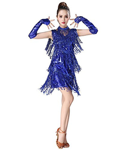 Astage Women`s Latin Samba Rumba Tassel Sequin Dance Dress Sexy Performance Wear: Clothing - MAXMARTZ