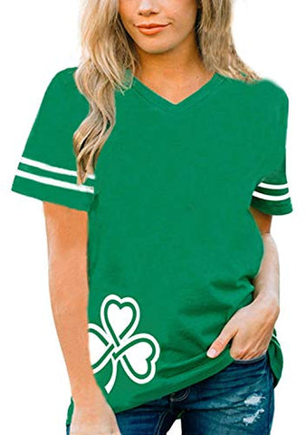 Leaf Clover ST PATRICK'S DAY Irish Shamrock Women's Fitted V-Neck T-Shirt(Kelly Green, xx-Large): Clothing