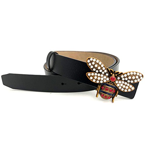 MoYoTo Women's Thin Faux Leather Fashion Bee Designer Buckle Belt With Pearl (Black): Clothing