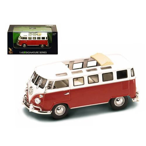 1962 Volkswagen Microbus Van Bus Red With Open Roof 1/43 Diecast Car by Road Signature - MAXMARTZ
