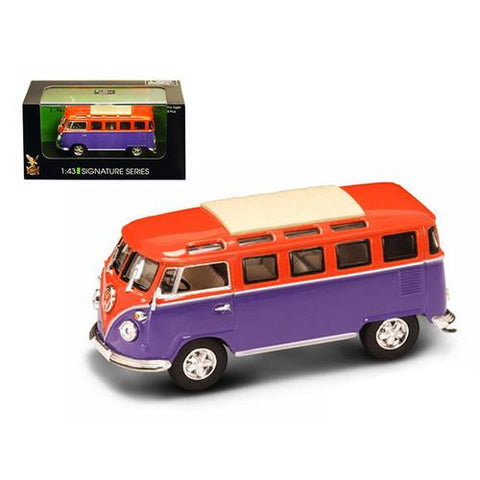 1962 Volkswagen Microbus Van Bus Orange/Purple 1/43 Diecast Car by Road Signature - MAXMARTZ