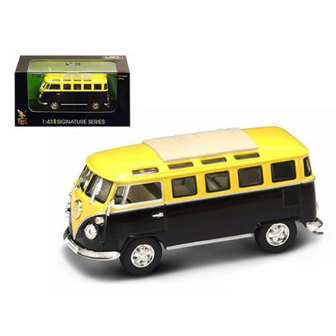 1962 Volkswagen Microbus Van Bus Yellow/Black 1/43 Diecast Car by Road Signature - MAXMARTZ