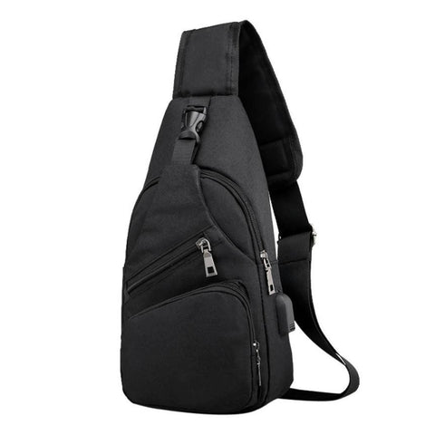 Men Travel Bags Chest Bag with USB Multifunctional Crossbody Bag Casual Shoulder Canvas Handbag - MAXMARTZ