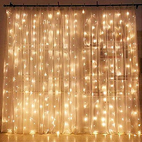 Twinkle Star 300 LED Window Curtain String Light Wedding Party Home Garden Bedroom Outdoor Indoor Wall Decorations, Warm White : Home Improvement