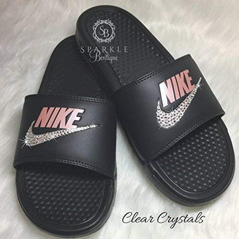 Nike Benassi JDI Slides with Crystals Custom Nike Shoe by SparkleBoutique2U: Handmade