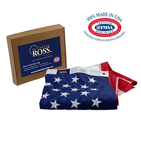 Elizabeth Ross American Flag, Nylon, PERMA-NYL, 3' x 5' 100% Made in USA, Sewn Stripes, Embroidered Stars, Heavy-Duty Brass Grommet, Premier US Products from Valley Forge Flag : Garden & Outdoor