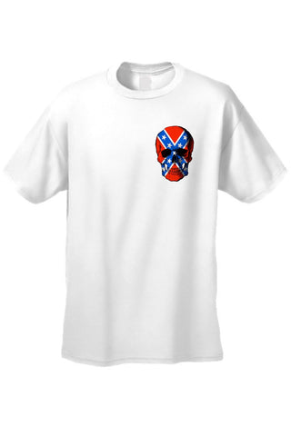 Confederate Rebel Flag T Shirt Skull Pocket Size
