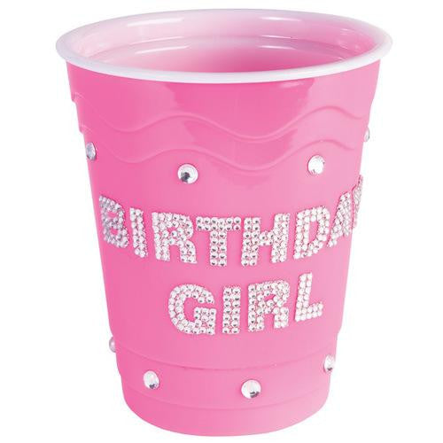 Birthday Girl Plastic Cup w/Clear Stones - Pink - MAXMARTZ