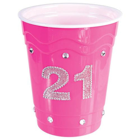 21 Birthday Plastic Cup w/Clear Stones - Pink - MAXMARTZ