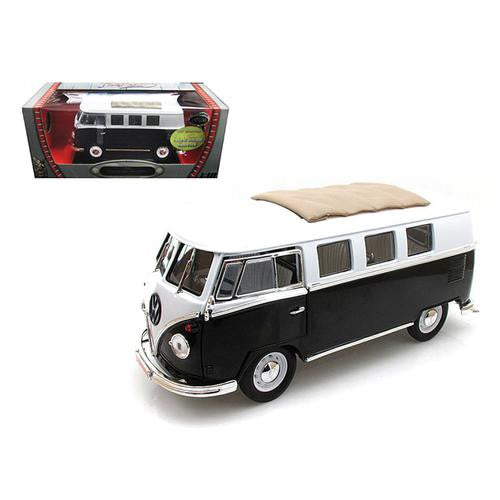 1962 Volkswagen Microbus Black with Sliding Fabric Sunroof Limited Edition to 600pc 1/18 Diecast Model by Road Signature - MAXMARTZ