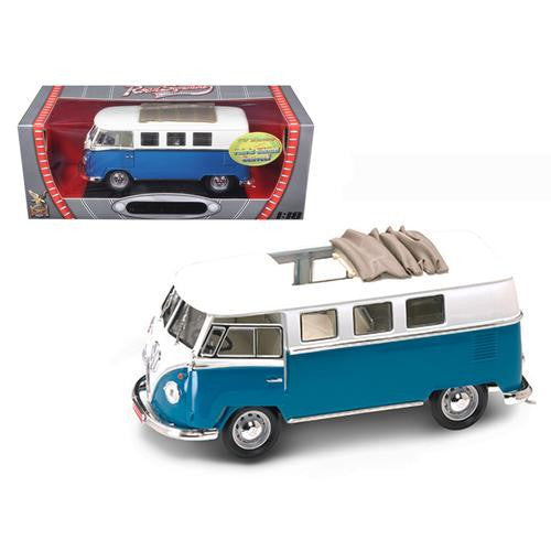 1962 Volkswagen Microbus With Retractable Roof Blue 1/18 Diecast Car by Road Signature - MAXMARTZ