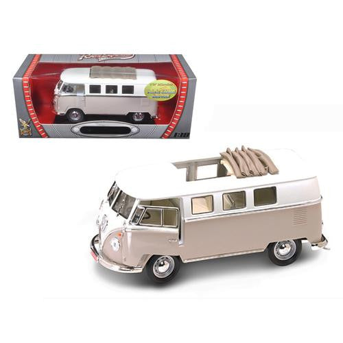 1962 Volkswagen Microbus With Retractable Roof Cream 1/18 Diecast Car by Road Signature - MAXMARTZ