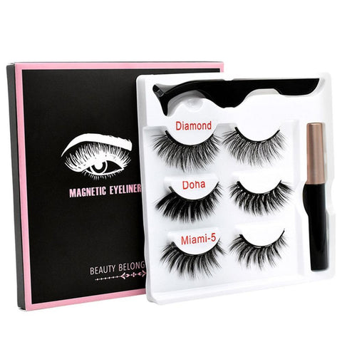 Magnetic False Eyelashes Eyeliner Magnet Eyelash Set 3 Pairs Of Magnetic Eyelashes + Eyeliner + Tweezers - MAXMARTZ