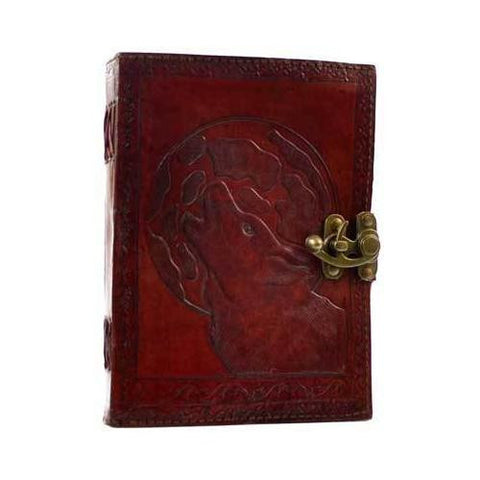 Wolf Moon leather blank book w/ latch