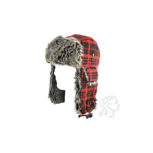 Trooper Hat w/ Grey Fur, Buffalo Plaid - MAXMARTZ