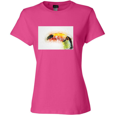 Hanes - 100% pre-shrunk ringsuponn cotton, feminine fit t-shirt Nano T Women's T-Shirt with Toucan image!