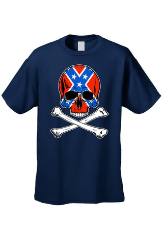 Confederate Rebel Flag T Shirt Skull and Crossbones