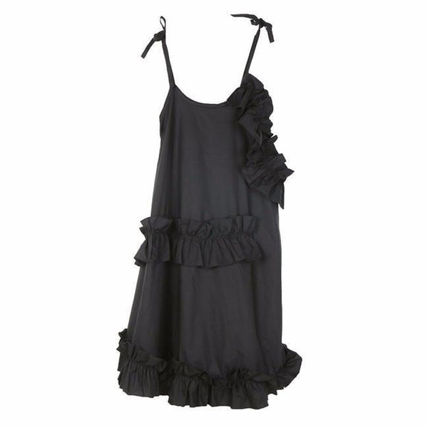 Alvarez Asymmetrical Ruffle Dress - Black - MAXMARTZ