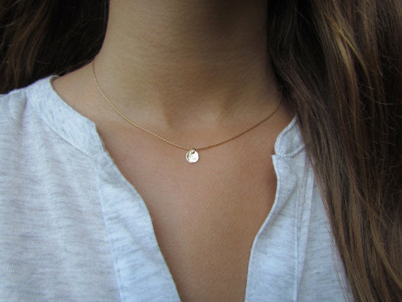 Tiny Gold Disc Necklace, Hammered Gold Disc - MAXMARTZ