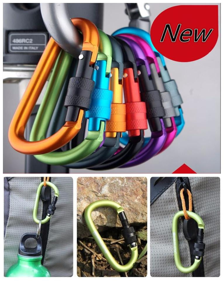 8cm Type 'D' Quickdraw Carabiner Hanging Aluminum Backpack Buckle - MAXMARTZ