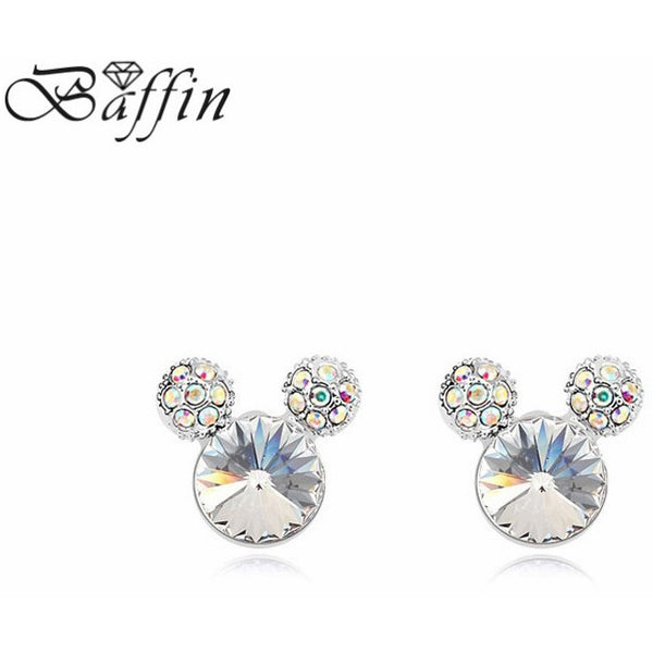 2016 gift for girlfriend! Classic Cute Mickey Shape stud earrings Made with SWAROVSKI ELEMENTS for Mother's Day gift - MaxMartz