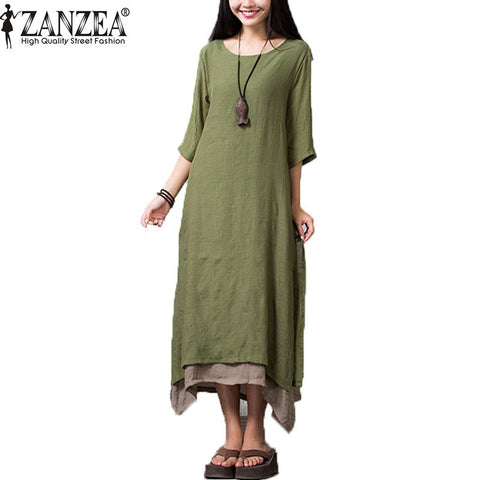 Summer Dress, Casual, Loose, Round Neck Boho Cotton / Linen Long Maxi Shirt Vintage Dresses Plus Size