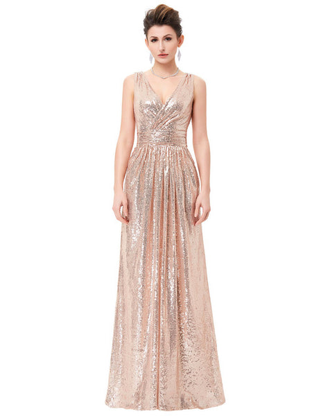 Luxury Gold Silver Long Sequin Evening Dress Pink Double V Neck Cheap Evening Gowns Sleeveless Prom Party Formal Dresses 0199 - MAXMARTZ