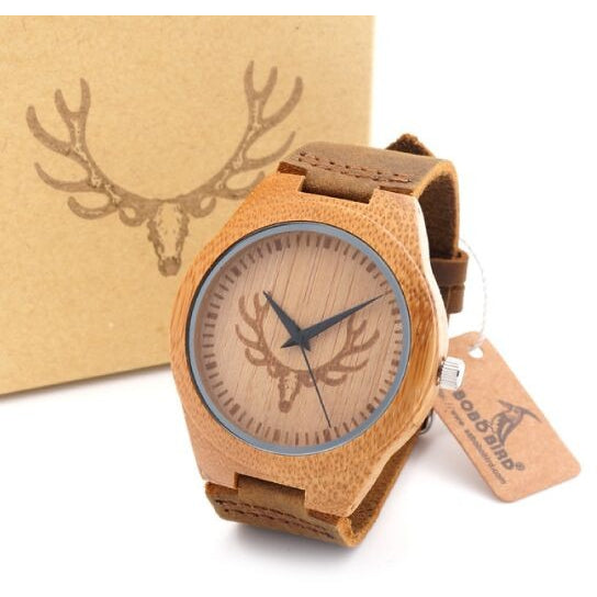 Top brand Men's Bamboo Wooden Watch, Quartz, Real Leather Strap - MAXMARTZ