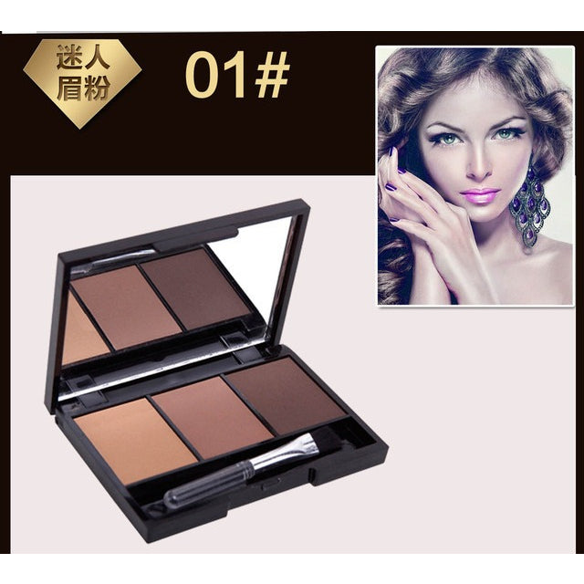 3 Color Eyebrow Powder Palette Cosmetic Brand Eye Brow Enhancer Professional Waterproof Makeup Eye Shadow With Brush Mirror Box - MAXMARTZ