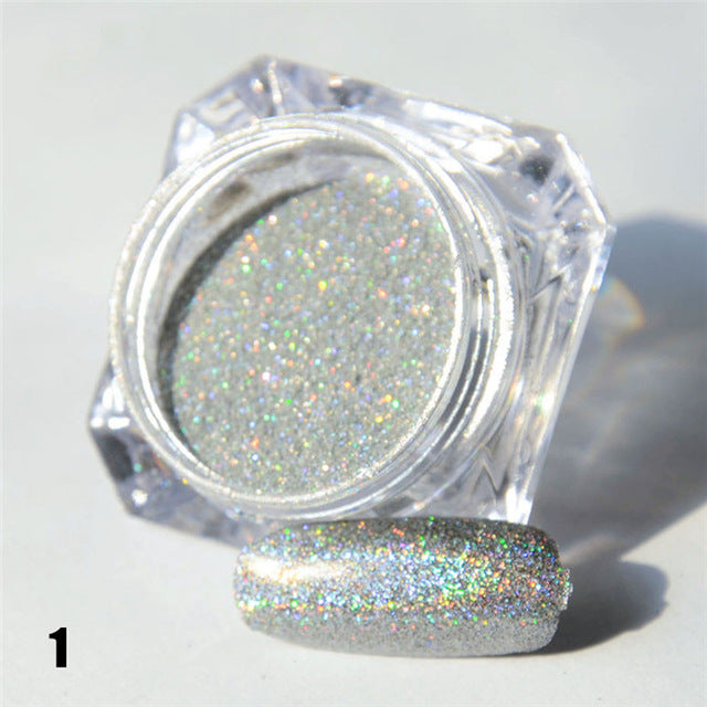 1.5g 1 Box Holographic Glitter Laser Powder Nail Glitter Manicure Nail Art Chrome Pigment DIY Nails- 8 Colors Available