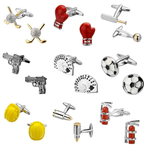 High quality sports entertainment red rose poker Golf pistol bullets Cufflinks brand fashion shirt Cufflinks