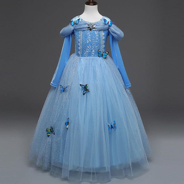 New Baby Girl Anna Elsa Dress High-Grade Sequined Princess Cinderella Fancy kids clothes For Party Costume Snow Queen Cosplay - MAXMARTZ