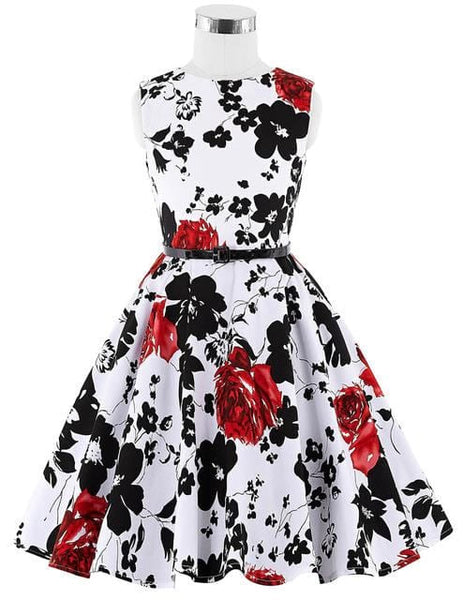 Real Picture Flower Print Vintage Flower Girl Dresses for Wedding Communion Pageant Dresses for Little Girl Kids Prom Dress 0250 - MAXMARTZ