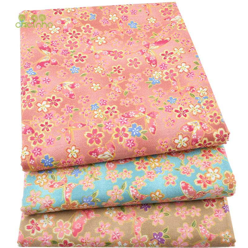 3pcs/lot,Twill Cotton Fabric Patchwork Bronzing Tissue Cloth Fat Quarter Bundle Of Handmade DIY Quilting Sewing Textile Material