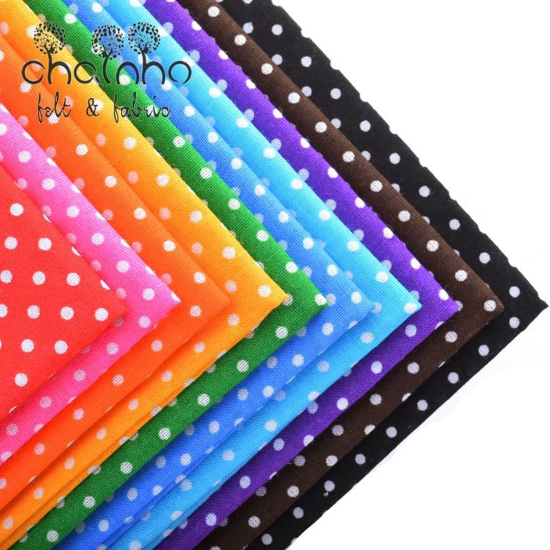 Plain Thin Cotton Fabric Patchwork For Sewing Quilting Fat Quarters Tilda Cloth Scrapbooking 10pcs Polka Dot Pattern 50*50cm - MAXMARTZ