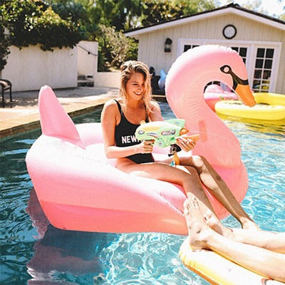 190cm 75inch Giant Swan Inflatable Pool Float White/Black/Gold Swimming Board For Adults Water Toy Fun Air Mattress - MAXMARTZ
