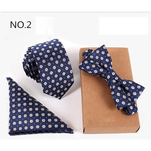 Three Piece, Slim Tie, Bow Tie and Handkerchief set for Men