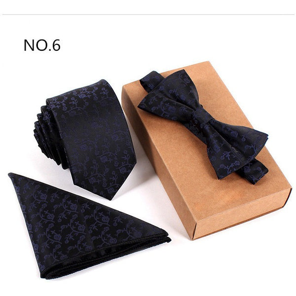Three Piece, Slim Tie, Bow Tie and Handkerchief set for Men - MAXMARTZ
