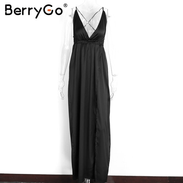 BerryGo Elegant backless satin long dress Women evening summer dress Party sexy black red maxi dresses vestidos pajamas - MAXMARTZ