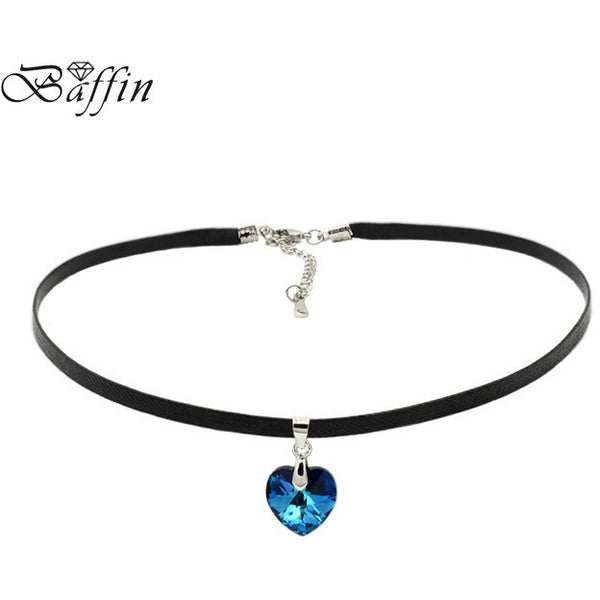 Heart Pendant Choker Necklace Crystals From SWAROVSKI Elements Rope Chain Collier For Women, ideal Birthday or Mother's Day Gift! - MAXMARTZ