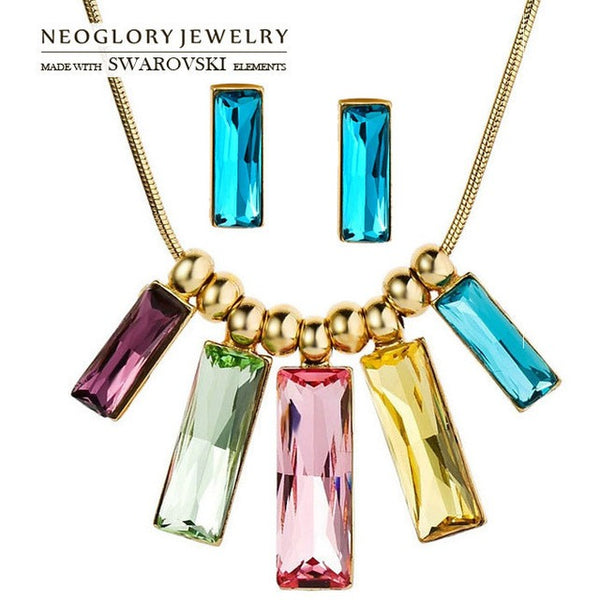 Jewellery Set MADE WITH SWAROVSKI ELEMENTS Crystal Light Yellow Gold Color Jewelry Set Necklace Earring For Women - MAXMARTZ