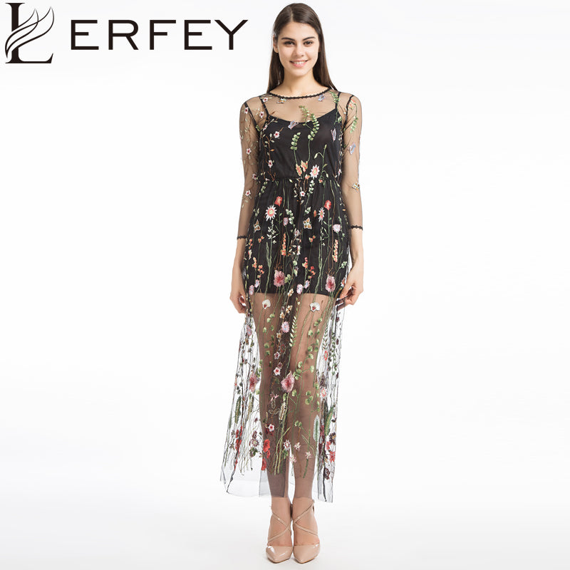 LERFEY Women Embroidery Flower Casual Dress Summer Two Piece Mesh Maxi Dress Black Dresses Long Sexy Dress Clothing Vestidos - MAXMARTZ