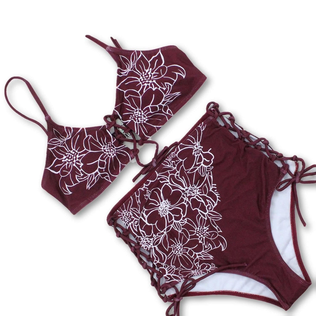 New High Waist Bikini Bandage Swimsuit, Floral Print, Lace-Up Front