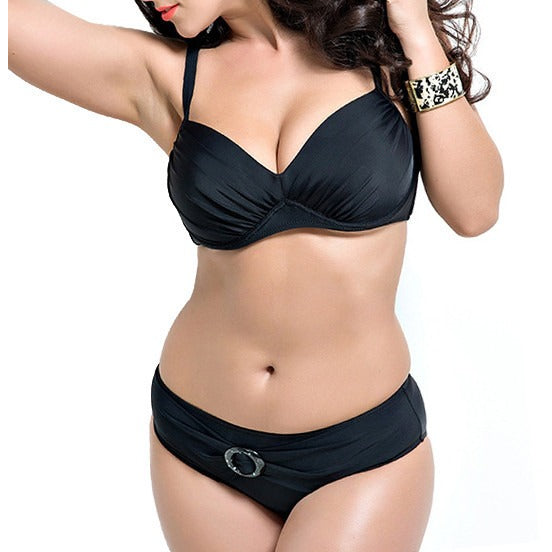 Solid Colour, Push-Up Sexy Bikini, Plus Size - MAXMARTZ